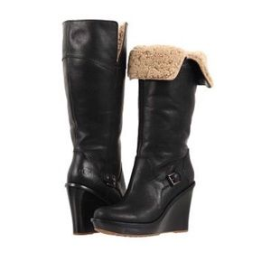 UGG Black Sidonie Tall Wedge Boots